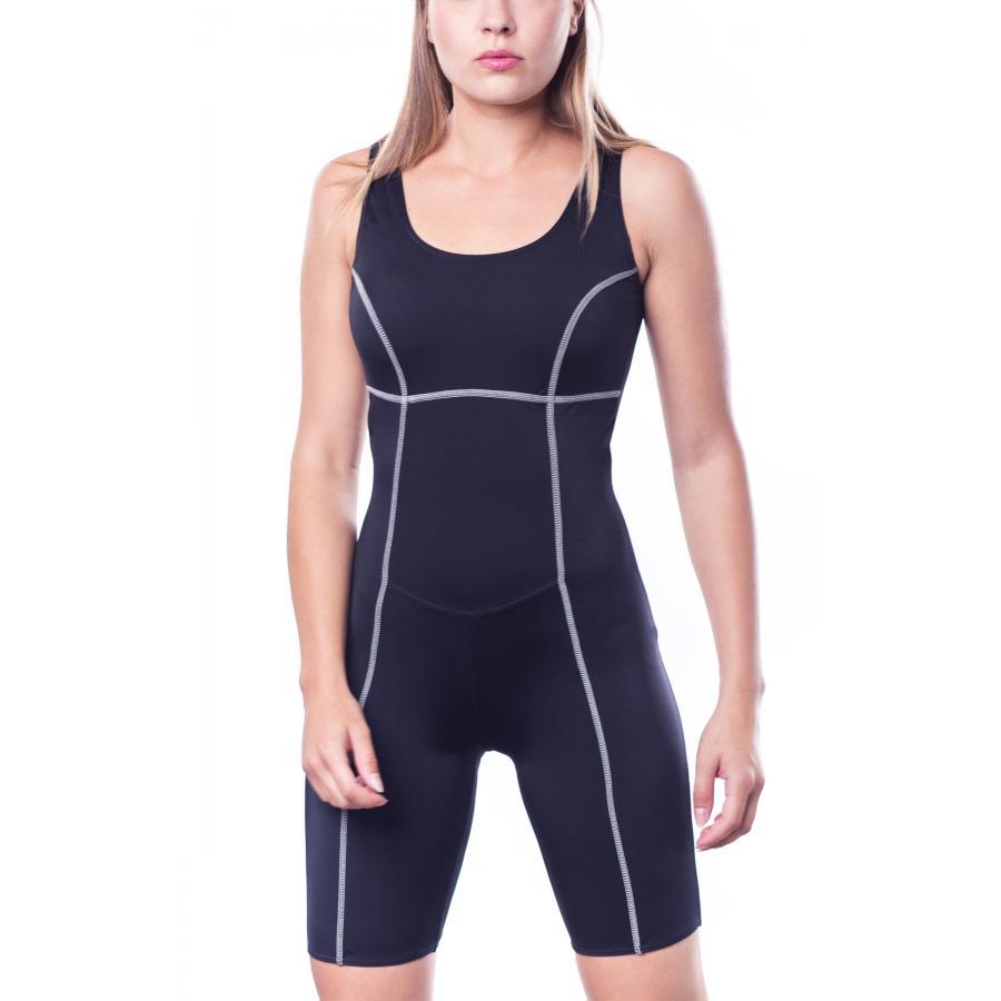 wie man kauft Tiefstpreis USA billig verkaufen Details zu Aquarti Damen Badeanzug mit Bein Schwimmanzug Knielang Schwarz
