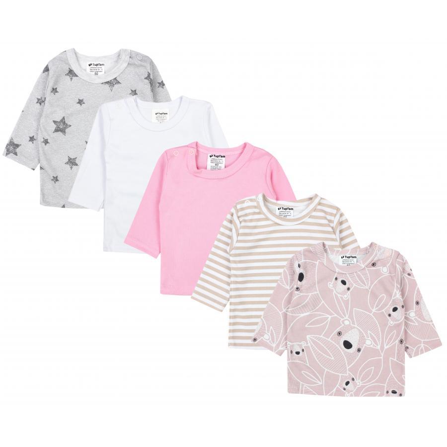 TupTam Baby M/ädchen Langarmshirt Gestreift 5er Set