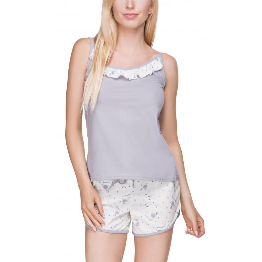 4923a0bb0f1f4c ... Damen Schlafanzug Ärmellos Pyjama Shorty 100% Baumwolle Nachtwäsche Set  ...